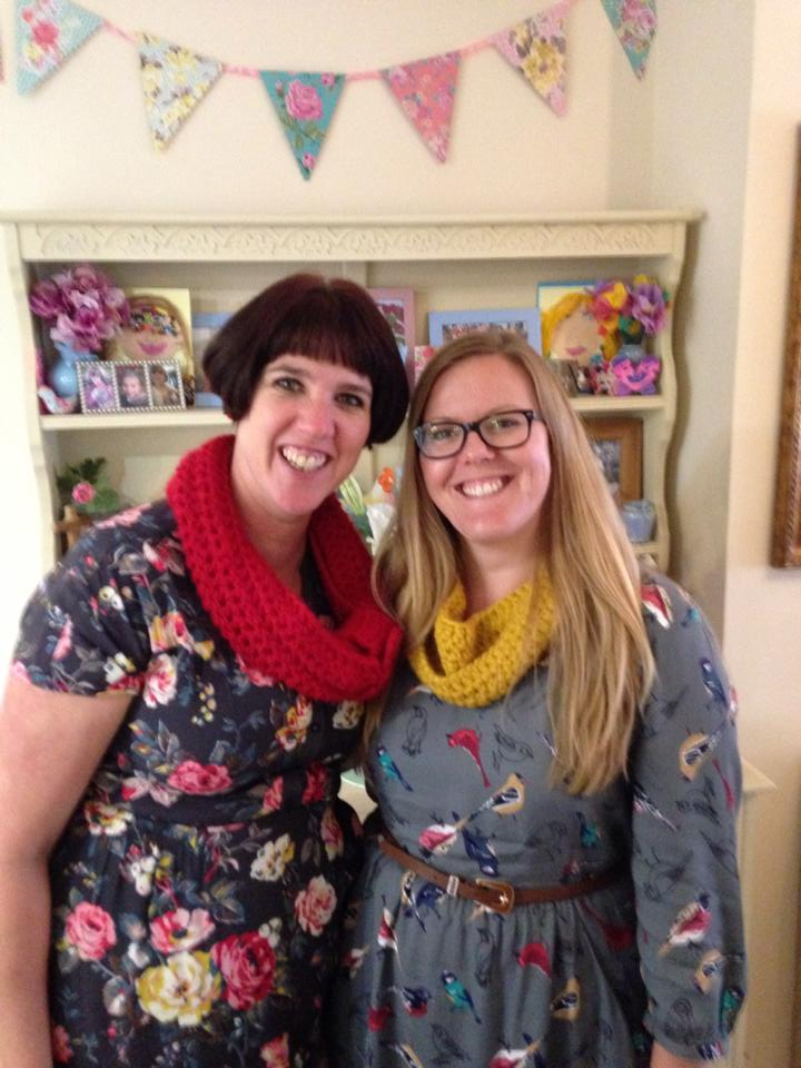 Me and Claire- sharing a love of crafts, crochet and florals- the perfect team!