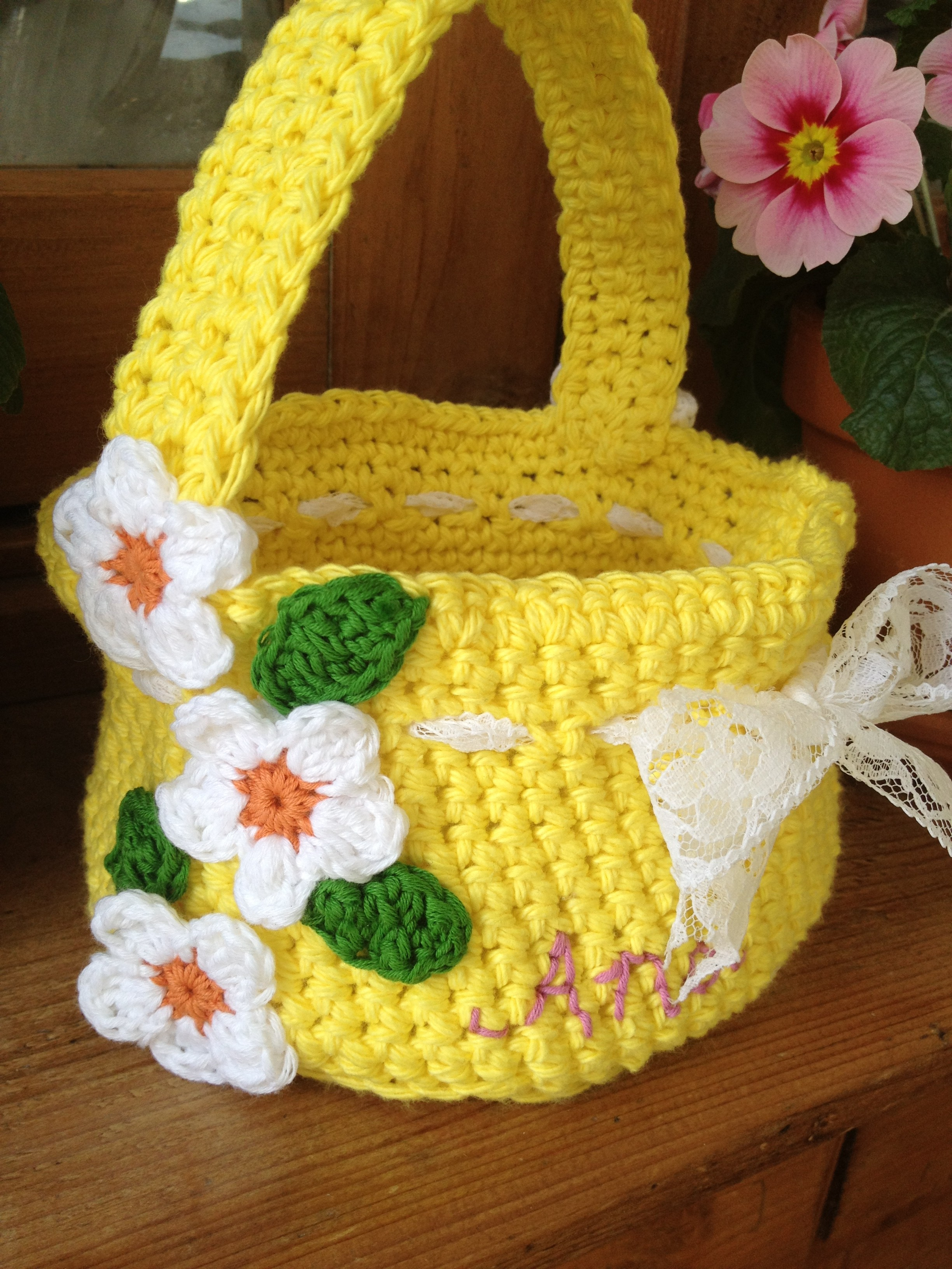 Crochet Easter Basket by Re-made by Sam