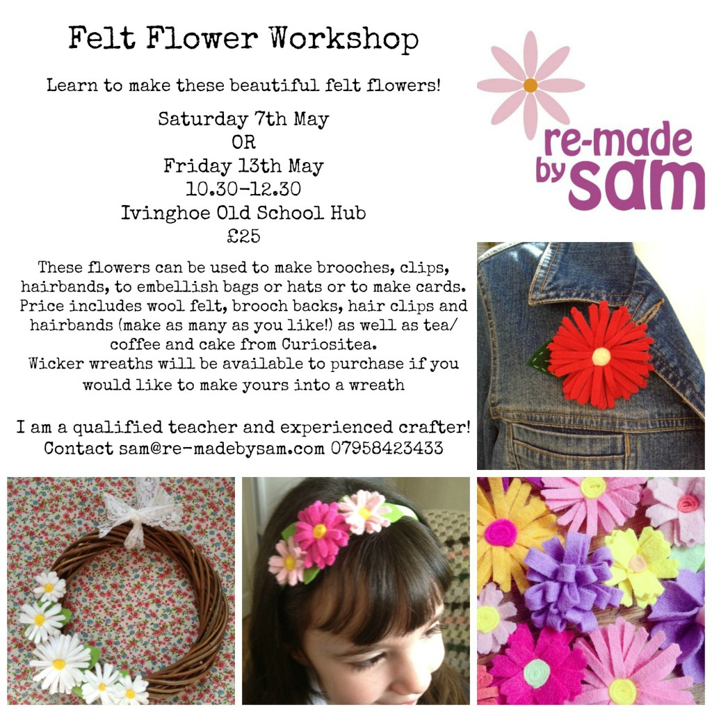 felt flower craft workshop hertfordshire