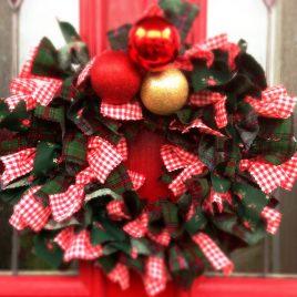 christmas festive rag wreath