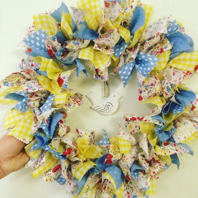 A truly Springy wreath!! crafts instacrafts ragwreath wreath craftersofinstagram