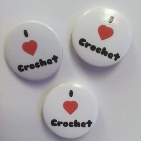 re-made by sam crochet button badges