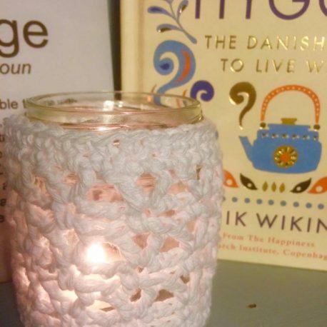 gorgeous crochet tea light holder cover