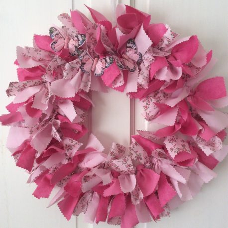 beautiful spring easter wreath on a door