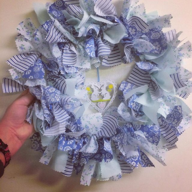A gorgeous Spring rag wreath on blues one of thehellip