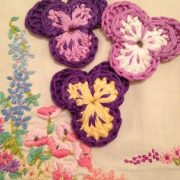crochet your own pansy flower brooch kit re-made by sam