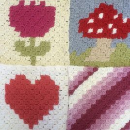 Re-made by Sam corner to corner crochet tapestry class Tring