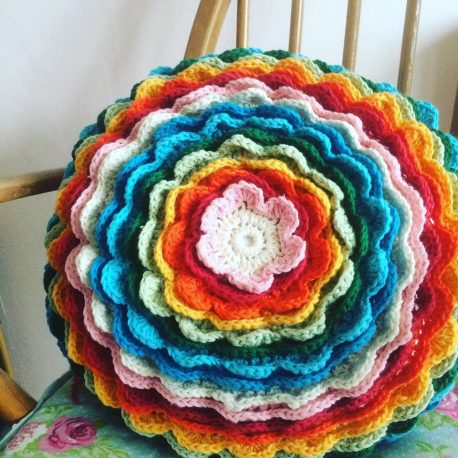 re-made by sam crochet flower cushion workshop