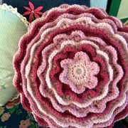 Re-made by Sam crochet flower cushion workshop class Tring Ivinghoe