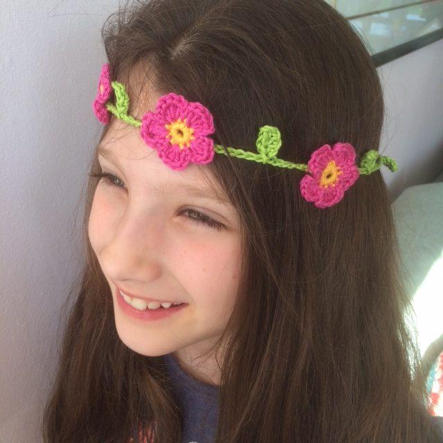 Crochet Flower Garland Headband - Re-made by Sam