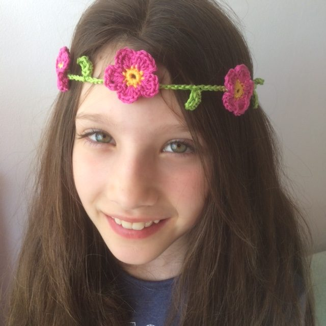 Crochet Flower Garland Headband - Re-made by Sam