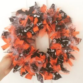Re-made by Sam Spooky Halloween Rag Wreath