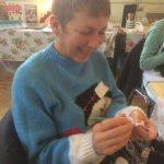 Kim enjoying a crochet class