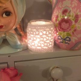 gorgeous crochet jar candle cover