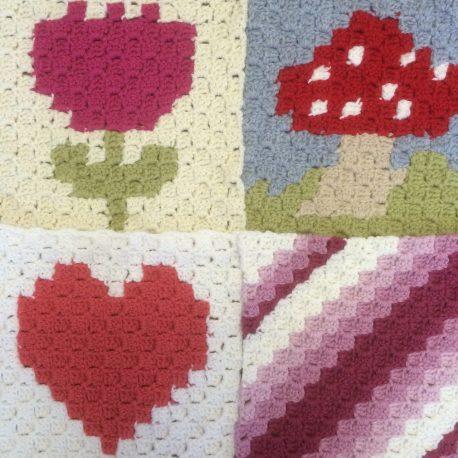 Re-made by Sam corner to corner crochet tapestry class Tring
