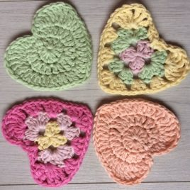 Plain hearts and Granny hearts - Re-made by Sam crochet hearts pattern