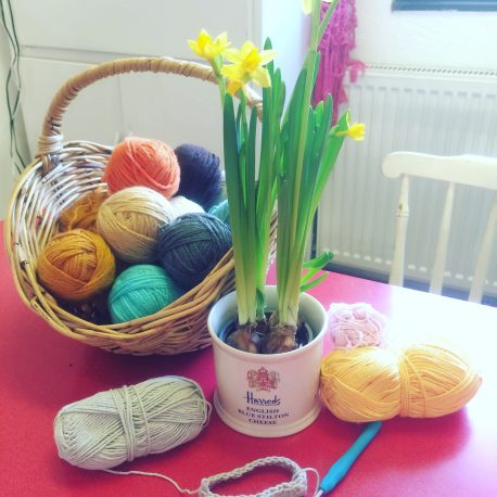 colourful yarn with spring flowers