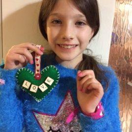 craft felt heart made by child