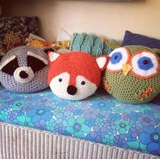 fox, raccoon and owl crochet animal cushion covers