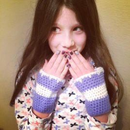 hookies junior crochet class girl with crochet mittens