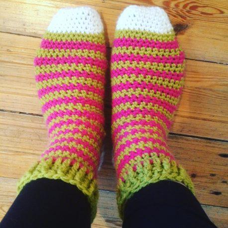 stripy crochet socks