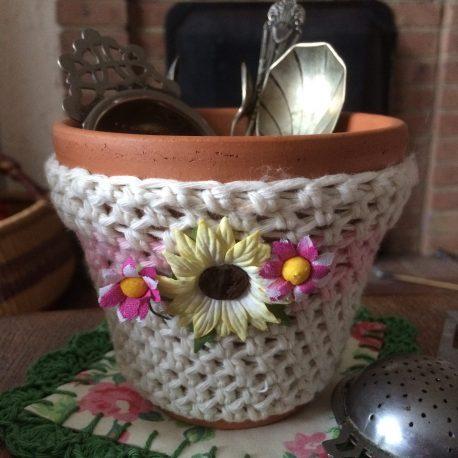 crochet cutlery jar cosy