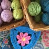 summer crochet bunting and yarn balls